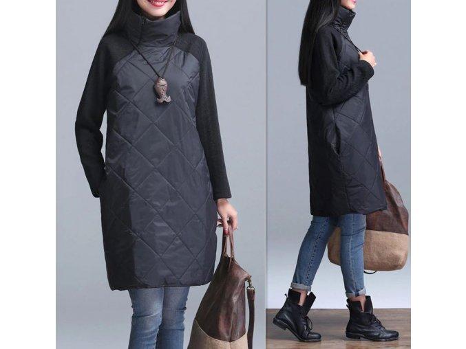 Dámské dlouhé zimní teplé šaty černé s rolákem (Vel XL)