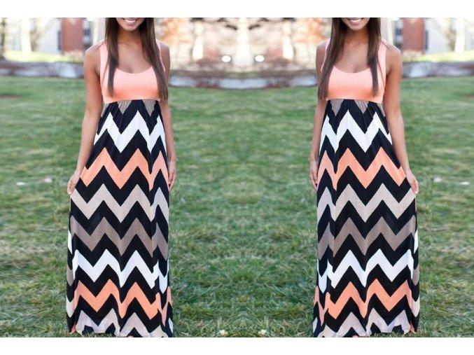 Dámské extra dlouhé vzorované šaty s lososovým vrškem (Velikost XXXL)