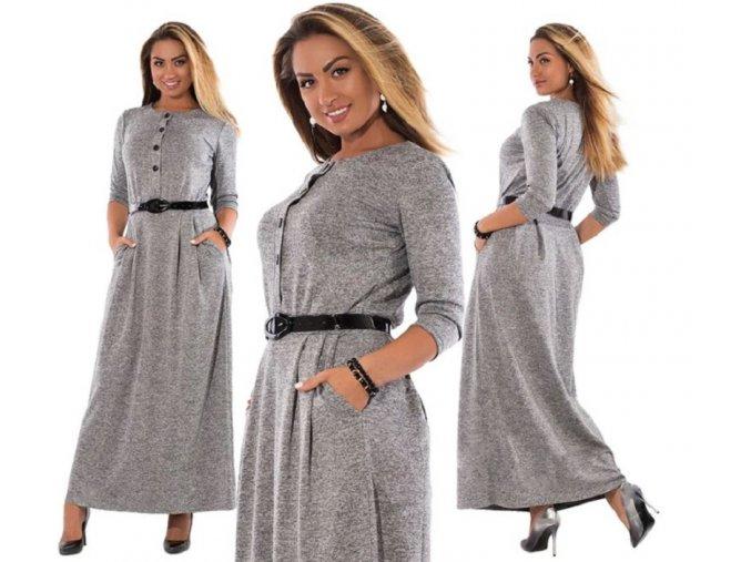 Dámské dlouhé šaty šedé pro plnoštíhle s páskem až 6XL (Vel XXL)