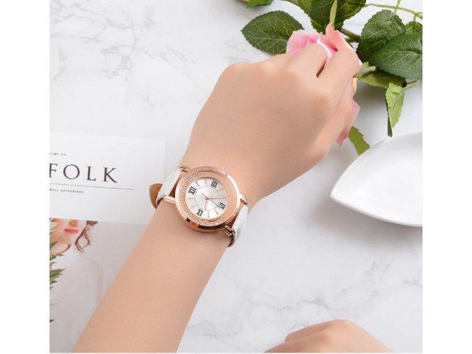 Dámske elegantné hodinky s koženým remienkom-tip na vianočný darček (Farba Biela)