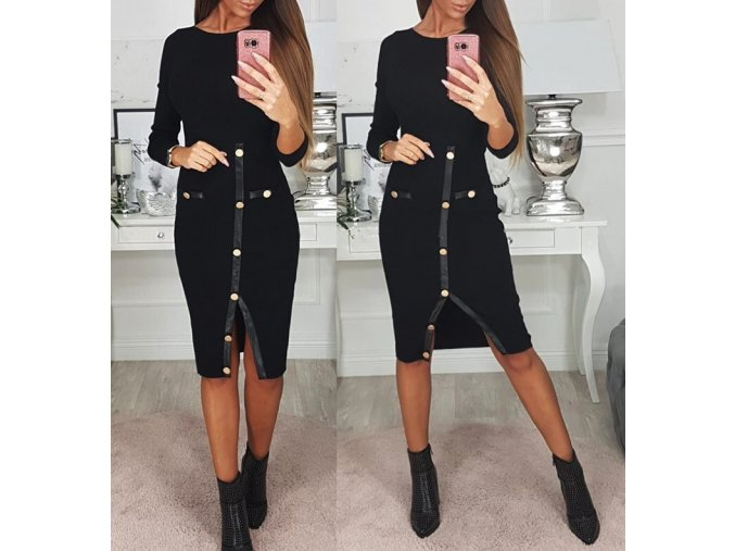 Dámske jesenné čierne šaty s dlhými rukávmi AKCE (Velikost S)