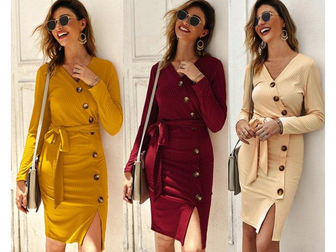 Dámske jesenné pletené šaty viac farieb (Farba Béžová, Velikost S)