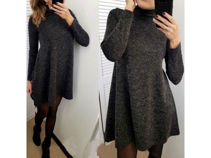 Dámské jesenné pohodlné šedé šaty NOVINKA (Velikost L)