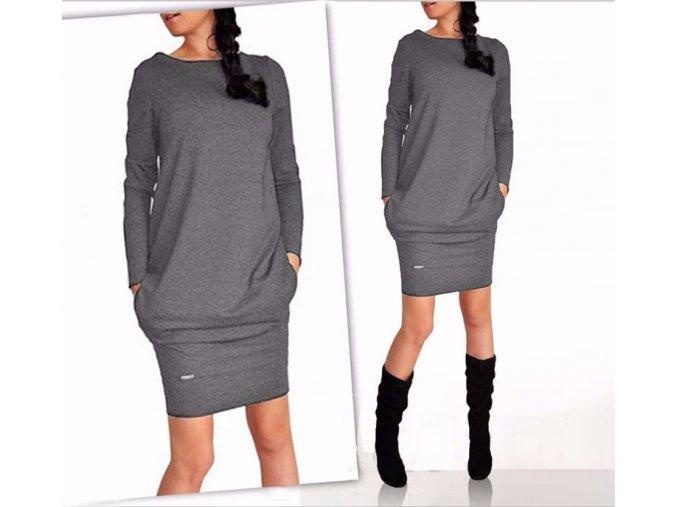 Dámské šaty s dlouhým rukávem šedé (Velikost XXXL)