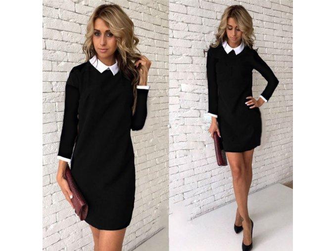 Dámské podzimní šaty s límečkem volného střihu a dlouhým rukávem černé (Vel XL)
