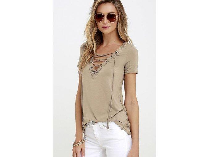 Dámské volnější fashion tričko se šněrováním khaki + DOPRAVA ZDARMA (Velikost XXXL)