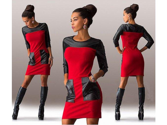 Fashion červené šaty s kapsami a 3/4 rukávem (Velikost XXL)