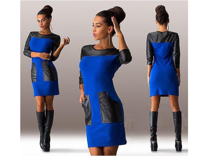 Fashion podzimní modré šaty s kapsami a 3/4 rukávem (Velikost XXL)