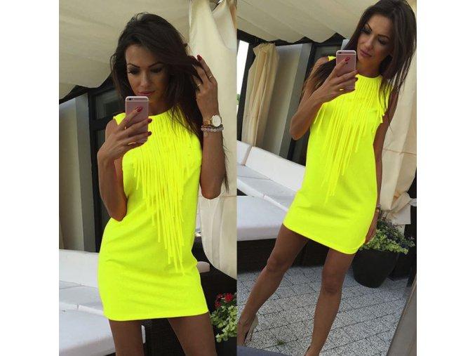 Dámské mini neonové žluté šaty se střapci + DOPRAVA ZDARMA (Velikost XL)