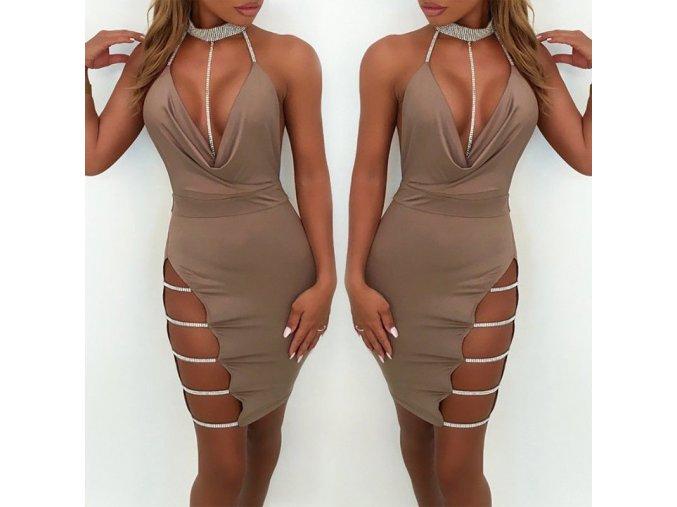 Luxusní sexy khaki šaty s flitry a rozparkem AKCE (Velikost XL)