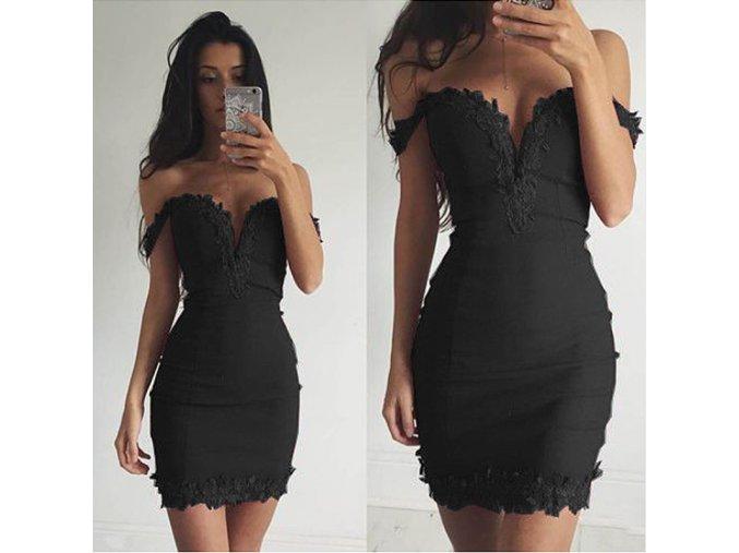 Slim černé šaty s hlubokým dekoltem lemované krajkou (Velikost XL)