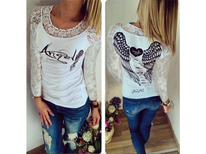 Dámské fashion tričko ANGEL s dlouhým krajkovaným rukávem bílé + DOPRAVA ZDARMA (Velikost XL)