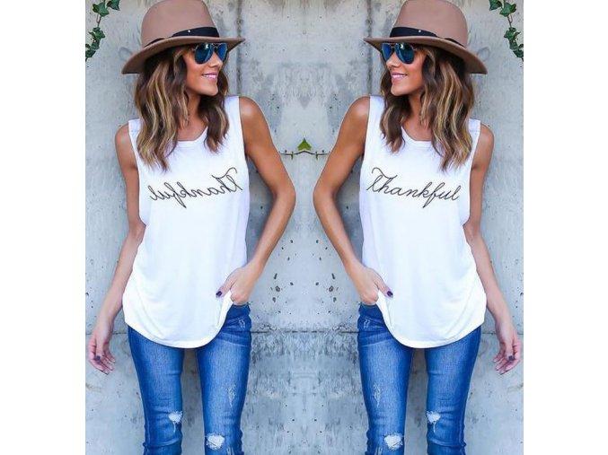 Dámské stylové tričko THANKFUL bílé (Velikost XXXL)