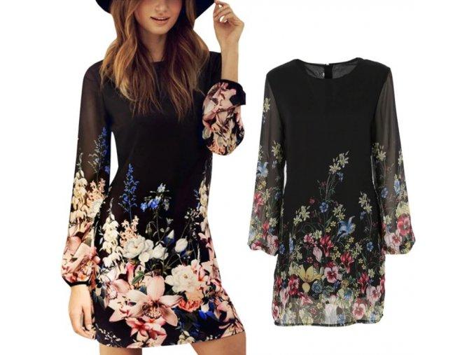 Dámske letné čierne šaty s kvetmi NEW (Velikost L)
