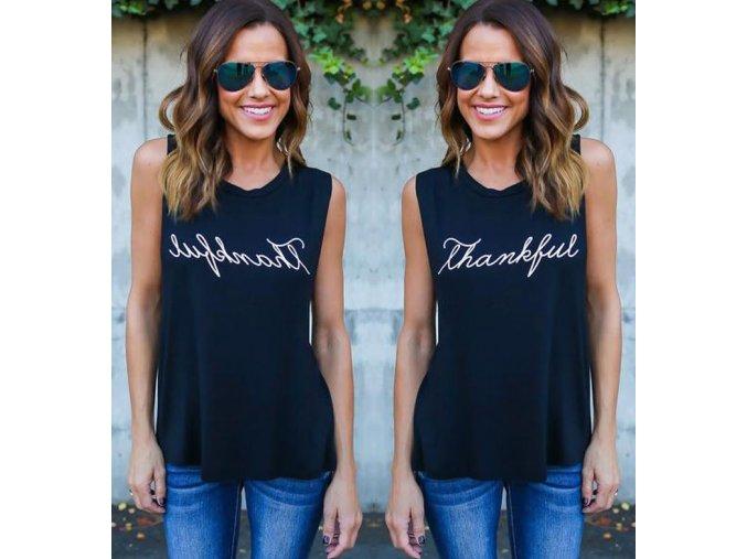 Dámské stylové tričko THANKFUL černé (Velikost XXXL)