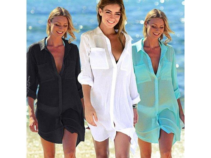 Dámske letné košeľové šaty cez plavky- viac farieb (Farba Biela)