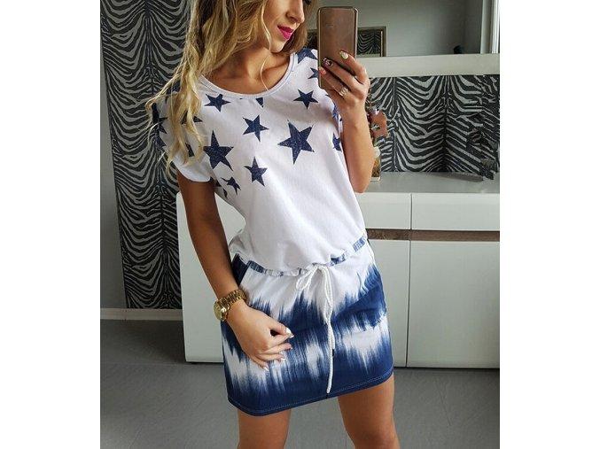 Dámské letní volné šaty s motivem hvězdiček (Velikost XXL)