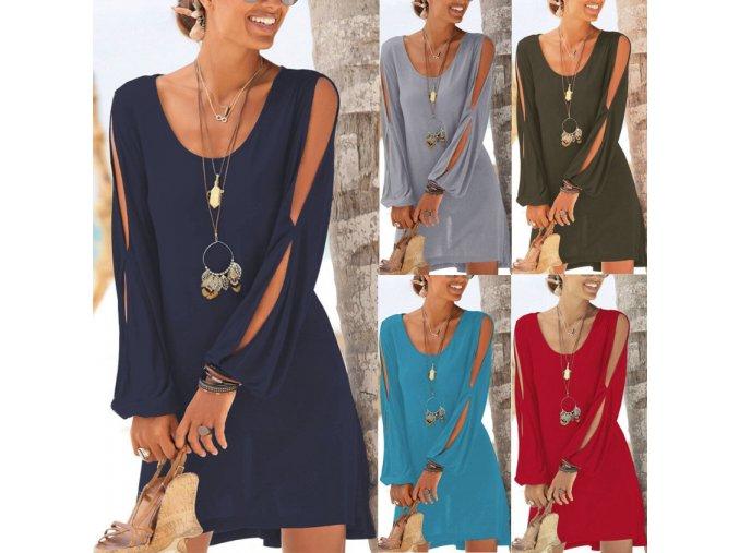 Dámske letné pohodlné šaty viac farieb až 2XL NEW (Farba Červená, Velikost S)