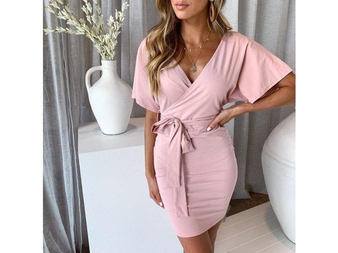 Dámske letné ružové šaty s viazaním v páse (Velikost L)