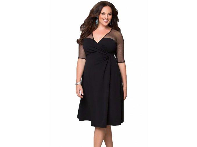 Dámské Plus Size šaty - různé barvy - SLEVA 30% (Barva Černá, Velikost XXL)