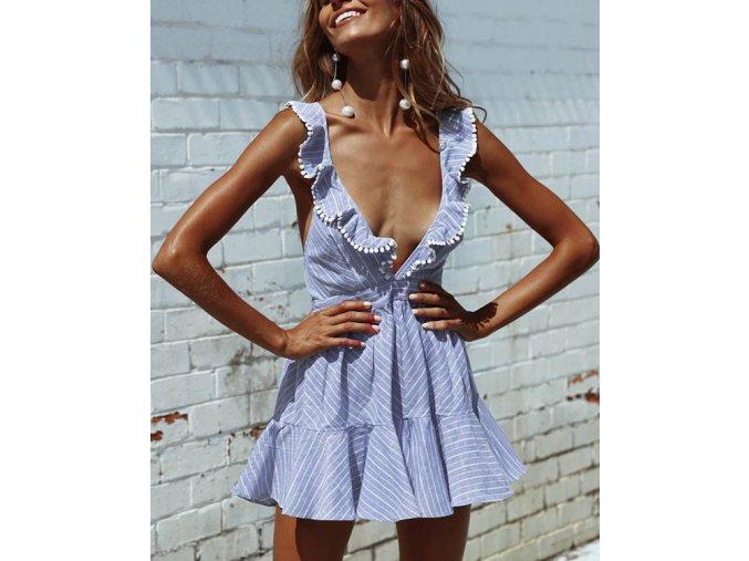 Dámské letní modré šaty s volánky a odhalenými zády (Velikost XL)