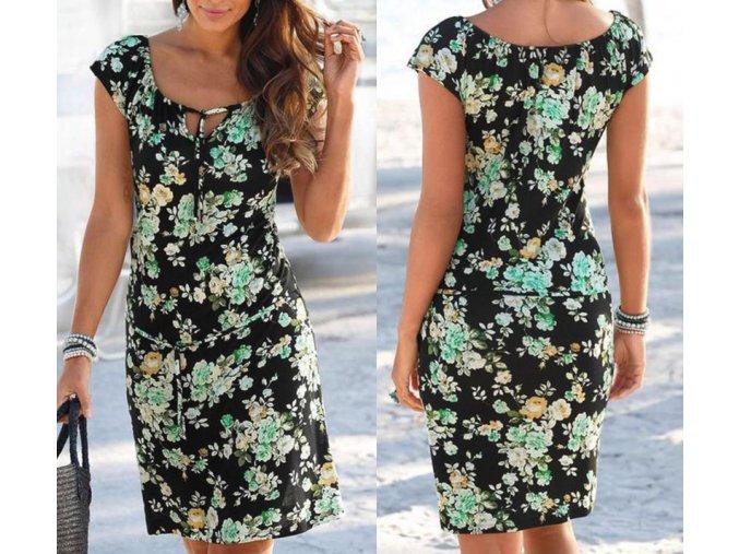 Dámske letné šaty s kvetmi až 2XL (Velikost L)