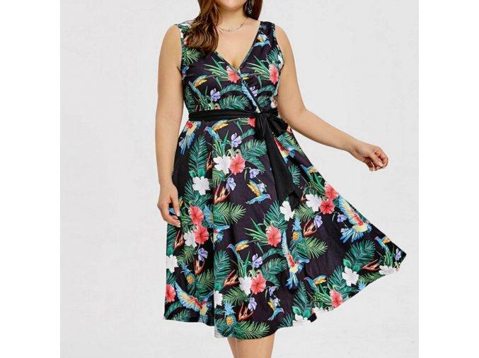 Dámske letné šaty so zaväzovaním pre plnoštíhle až 4XL (Velikost 3XL)