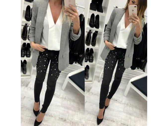 Dámské luxusní kalhoty černé s perlami (Vel 30)