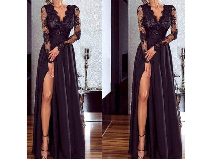 Dámské luxusní plesové černé společenské šaty (Vel XL)