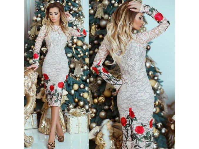 Dámske luxusné plesové čipkované spoločenské šaty (Velikost L)