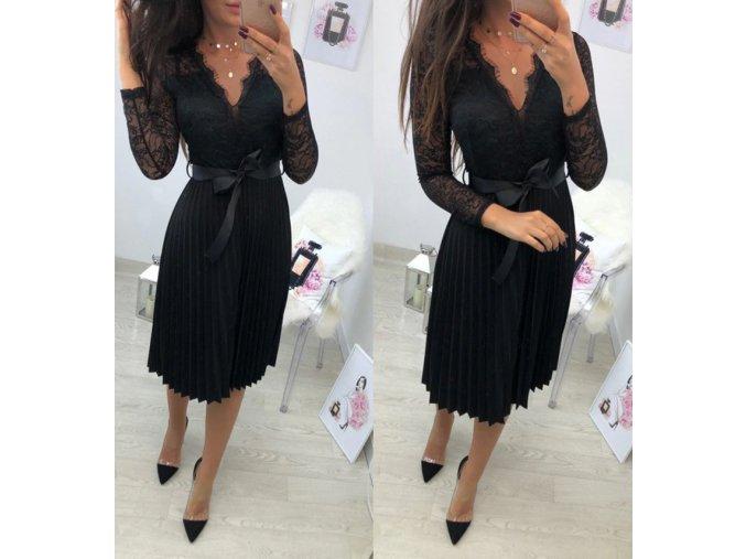 Dámske luxusné plesové spoločenské čierné šaty (Velikost L)