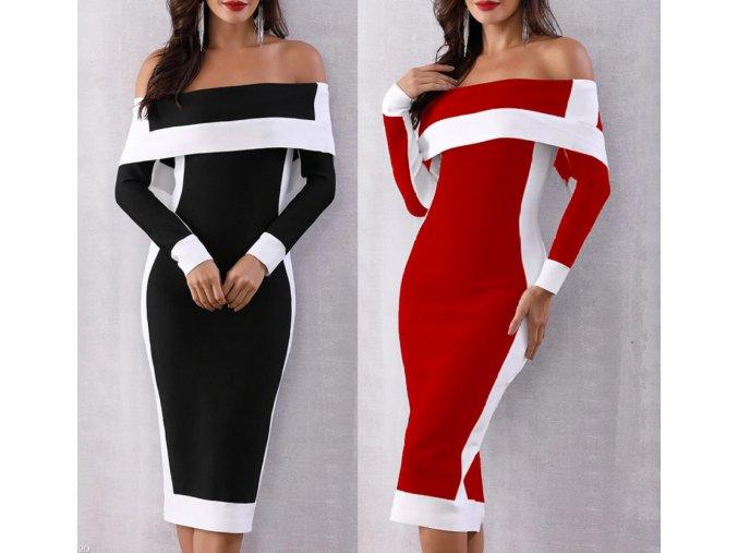 Dámske luxusné plesové spoločenské šaty čierné, červené až 5XL AKCIA (Farba Červená, Velikost S)