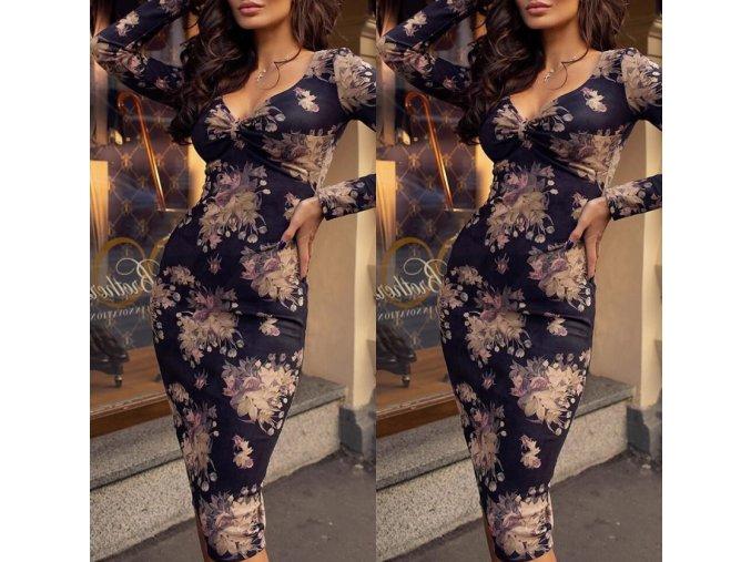 Dámske luxusné plesové spoločenské šaty s kvetmi až 2XL (Velikost L)