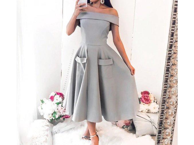 Dámské luxusní plesové šedé elegantní šaty s rozparkem NOVINKA (Vel XL)