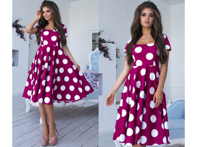 Dámske luxusné retro plesové bodkované šaty růžové (Velikost L)