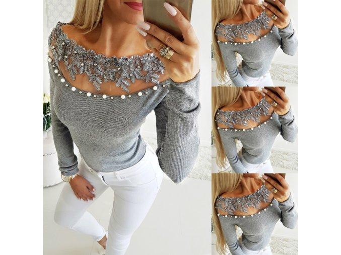 Dámske luxusné šedé TOP tričko s perlami a čipkou (Velikost L)