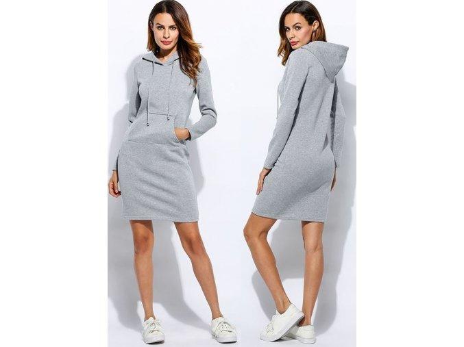 Dámské podzimní sportovní šaty s kapucí šedé (Velikost XXL)