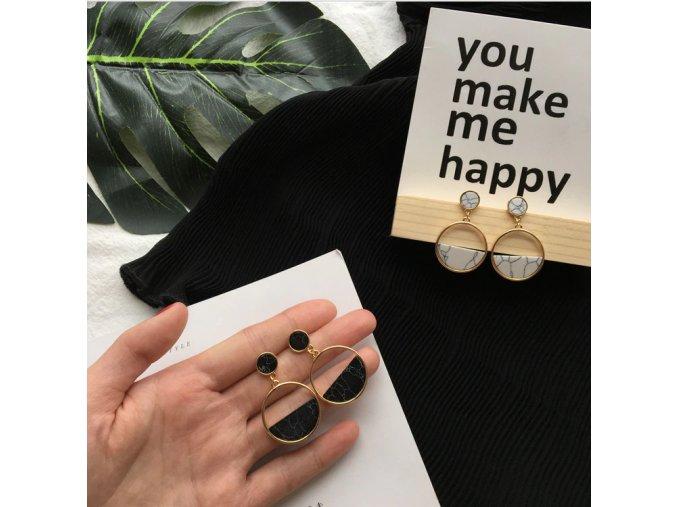 Dámské mramorované náušnice skvělý tip na dárek pro přítelkyni (Barva: černá)