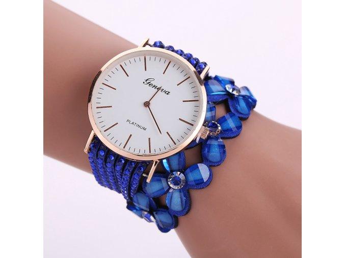 Stylové květinové hodinky - různé barvy - SLEVA 70% (Barva Růžová)