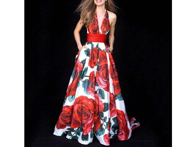 Dámske plesové spoločenské červené šaty s kvetmi (Velikost L)