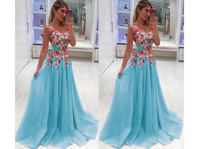 Dámské plesové společenské večerní šaty modré do tanečních a na svatbu až 4XL (Vel XXL)