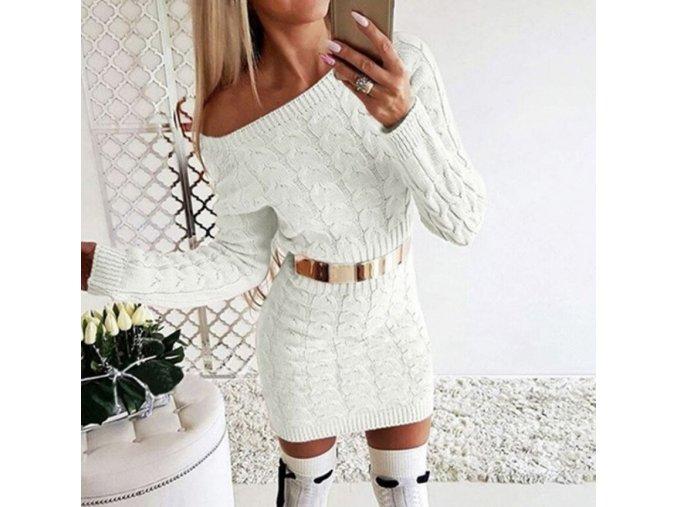 Dámske pletené luxusné šaty s dlhými rukávmi viac farieb (Farba Biela, Velikost S)