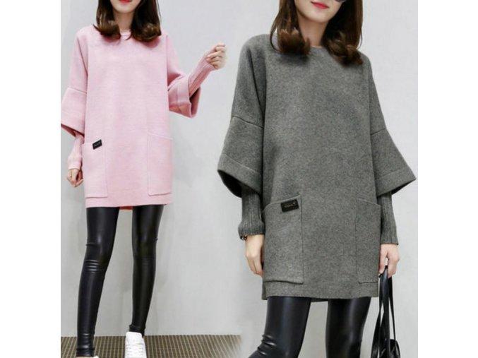 Dámske podohlné jesenné šaty s dvojitým rukávom až 3XL (Farba Růžová, Velikost L)