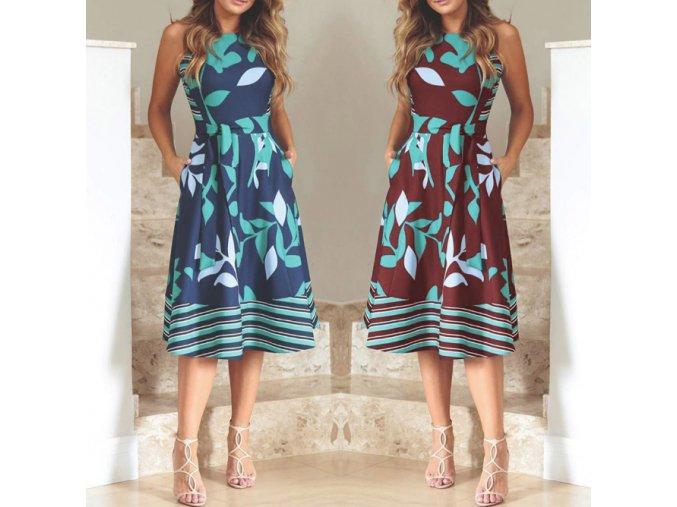 Dámske pohodlné letné šaty s viazaním v páse pre plnoštíhle až 5XL (Farba Červená, Velikost S)