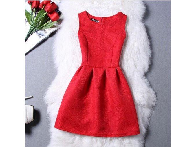 Stylové letní šaty bez rukávů (Barva Červená, Velikost XXL)