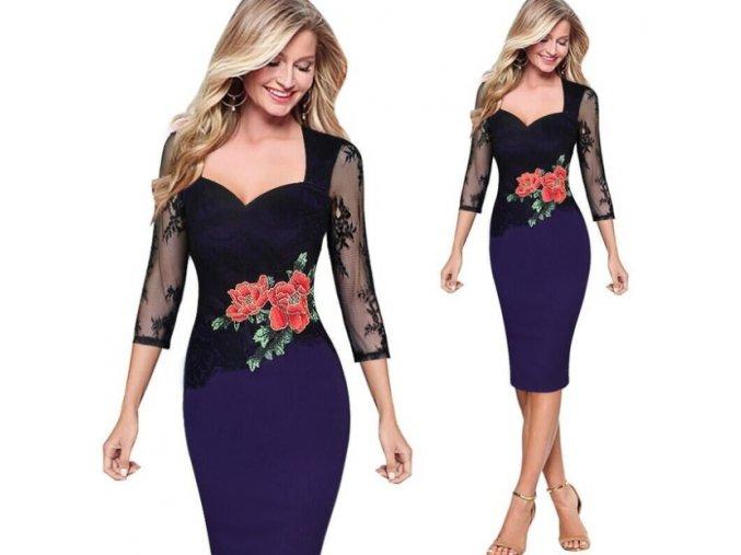 Stylové plesové fialové šaty se síťovaným rukávem až 5XL (Velikost XXXL)