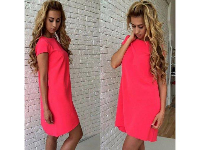 Dámské mini šaty s volným střihem a krátkým rukávem růžovočervené (Velikost XL)