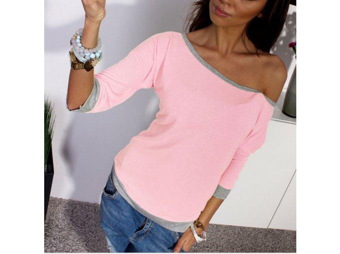 Dámské tričko s výstřihem a dlouhým rukávem růžové + POŠTOVNÉ ZDARMA (Velikost XL)