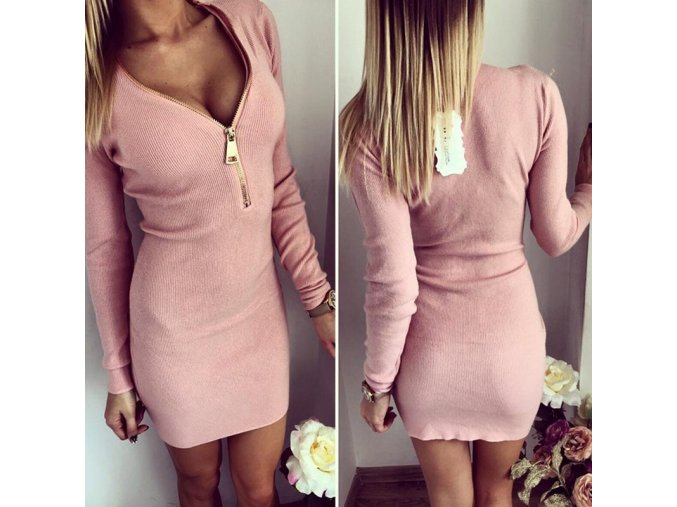 Luxusní dámské elastické šaty růžové (Velikost XL)