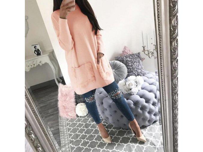 Dámske ružové zimné pohodlné šaty s vreckami NOVINKA (Velikost L)
